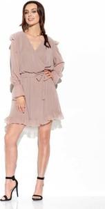 Różowa sukienka Lemoniade mini z długim rękawem z jedwabiu
