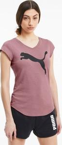 Różowy t-shirt Puma z krótkim rękawem z tkaniny