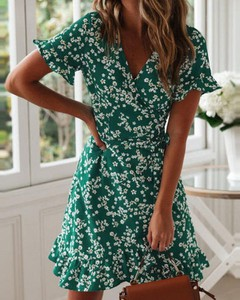 Zielona sukienka Kendallme mini z krótkim rękawem