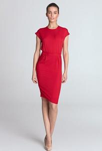 Czerwona sukienka Merg ołówkowa z krótkim rękawem
