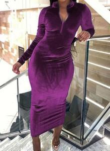 Fioletowa sukienka Cikelly ołówkowa z długim rękawem