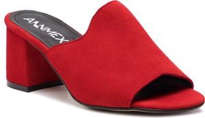 Czerwone klapki Ann-Mex ze skóry na obcasie