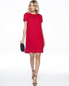 Czerwona sukienka L'AF oversize z krótkim rękawem w stylu boho