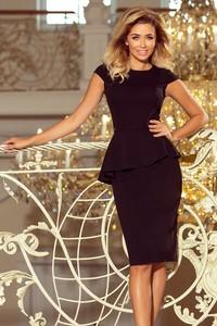 Czarna sukienka NUMOCO z krótkim rękawem midi z okrągłym dekoltem