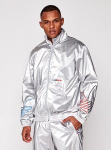 Srebrna kurtka Adidas Originals w sportowym stylu krótka