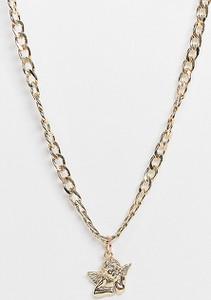 Reclaimed Vintage Inspired – Gruby łańcuszek w kolorze złota z cherubinkiem-Złoty
