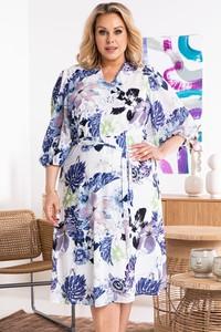 Sukienka KARKO dla puszystych z dekoltem w kształcie litery v w stylu casual