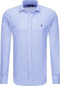 Niebieska koszula POLO RALPH LAUREN z lnu z długim rękawem