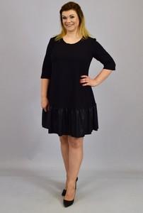 Czarna sukienka KARKO ze skóry ekologicznej