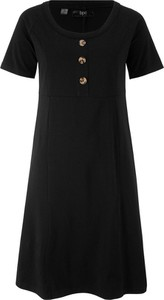Sukienka bonprix bpc bonprix collection midi z okrągłym dekoltem z krótkim rękawem