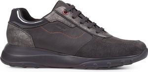 Buty sportowe Geox z płaską podeszwą z zamszu sznurowane