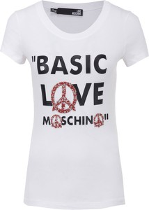 T-shirt Love Moschino z okrągłym dekoltem z krótkim rękawem
