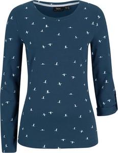 Niebieska bluzka bonprix z bawełny z długim rękawem w stylu casual