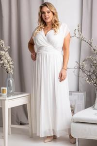 Sukienka KARKO z tiulu z krótkim rękawem dla puszystych