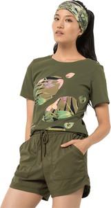 Zielony t-shirt Autoryzowany Sklep Jack Wolfskin z nadrukiem z dzianiny