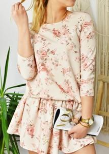 Sukienka Fason mini z długim rękawem z bawełny