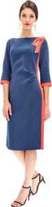 Niebieska sukienka Ella Boo z długim rękawem