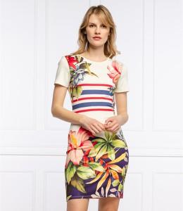Sukienka Desigual w stylu casual z okrągłym dekoltem z krótkim rękawem