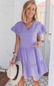 Sukienka SELFIEROOM z krótkim rękawem mini z dekoltem w kształcie litery v