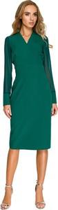 Zielona sukienka Style z szyfonu ołówkowa z dekoltem w kształcie litery v