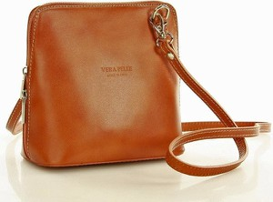 Brązowa torebka Vera Pelle średnia ze skóry w stylu boho