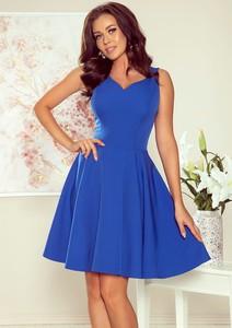 Niebieska sukienka NUMOCO bez rękawów mini z dekoltem w kształcie litery v