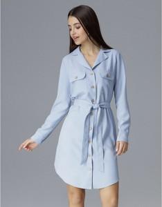 Niebieska sukienka Figl mini z długim rękawem