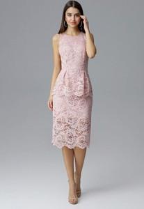 Różowa sukienka Figl baskinka bez rękawów