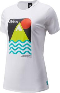 Bluzka New Balance z okrągłym dekoltem z nadrukiem z bawełny