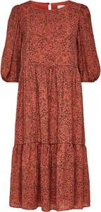 Czerwona sukienka Selected Femme z długim rękawem