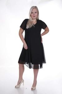 Sukienka Fokus z dekoltem w kształcie litery v z szyfonu dla puszystych