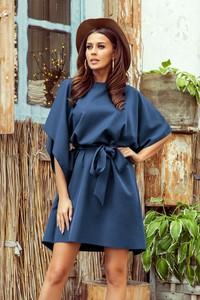 Niebieska sukienka NUMOCO z długim rękawem w stylu casual