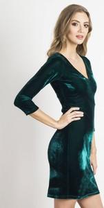 Zielona sukienka Ivon mini z długim rękawem