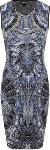 Sukienka Just Cavalli midi dopasowana z okrągłym dekoltem