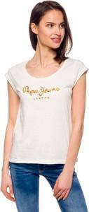 T-shirt Pepe Jeans z okrągłym dekoltem w młodzieżowym stylu