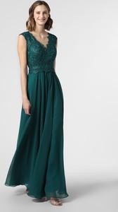 Zielona sukienka Luxuar Fashion rozkloszowana z dekoltem w kształcie litery v bez rękawów