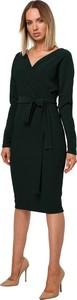 Czarna sukienka MOE z długim rękawem midi z dzianiny