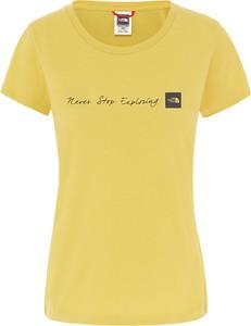 Żółta bluzka The North Face z krótkim rękawem z okrągłym dekoltem