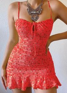Czerwona sukienka Cikelly na ramiączkach z dekoltem w kształcie litery v mini