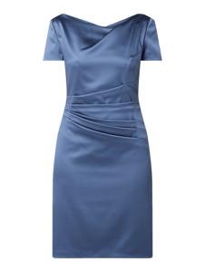 Sukienka Marie Noir z krótkim rękawem mini z satyny