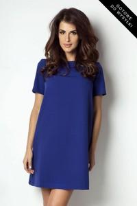 Niebieska sukienka Ivon trapezowa z krótkim rękawem w stylu casual