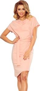 Sukienka Ptakmoda.com z krótkim rękawem asymetryczna