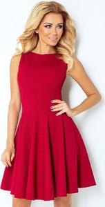 Czerwona sukienka NUMOCO rozkloszowana z okrągłym dekoltem
