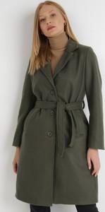 Zielony płaszcz born2be bez kaptura w stylu casual