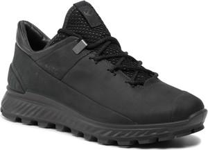 Czarne buty sportowe Ecco sznurowane z goretexu z płaską podeszwą
