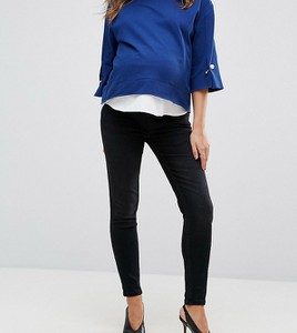 GeBe Maternity – Premium – Czarne obcisłe jeansy zasłaniające brzuch-Czarny