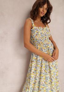 Żółta sukienka Renee z dekoltem w kształcie litery v w stylu boho na ramiączkach