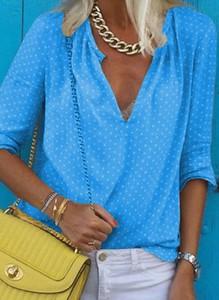 Niebieska bluzka Cikelly z długim rękawem z dekoltem w kształcie litery v