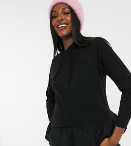 New Look Maternity – Czarna dzianinowa bluza z kapturem i bawełnianą falbanką-Czarny