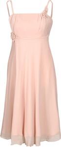 Różowa sukienka Fokus z szyfonu midi bez rękawów